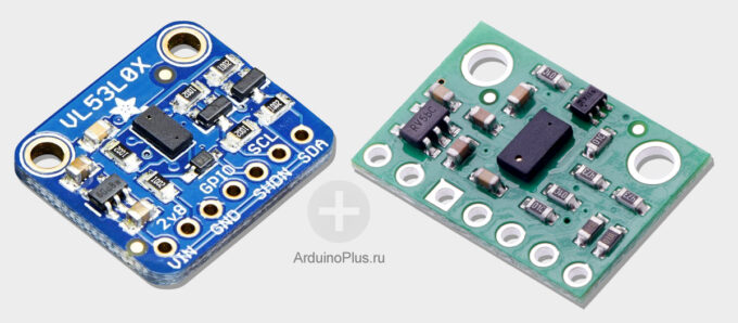 VL53L0X sensor from Adafruit (left) and Pololu (right)